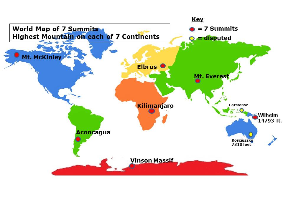 7 Continent Summits - Home on mckinley mountain, elbrus mountain, shishapangma mountain, everest mountain, hamilton mountain, aconcagua mountain,